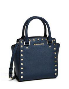MICHAEL MICHAEL KORS Selma Large Leather Studded Crossbody Bag, Navy
