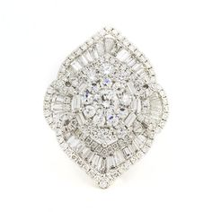 18K White Gold Diamond Cluster Ring  2.75ct TDW  Size 7 #UniQJewels #Cluster #Anniversary