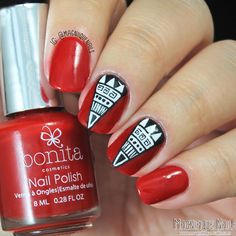 Day 1: Bonita Petite Swatch & Red Tribal Nails #31dc2014, Bonita Cosmetics, Nail Art, red nails, The 31 Day Challenge