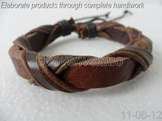 Leather and Rope Woven Bracelets Adjustable  80S by sevenvsxiao, $3.00