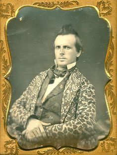 ca. 1850's, [daguerreotype portrait of a fashionable gentleman in a paisley smoking jacket]  via Luminous Lint, Courtesy of Larry Gottheim of Be-Hold Fine Photographics. Rockin' the hair :D