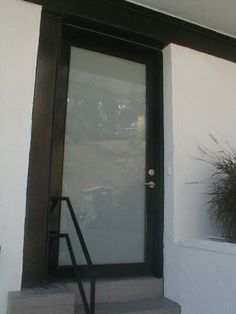 """Model: BP-450 Entry Door   Size: 3′ x 8′ Frame: Dark Brown Powder Coated Frame Glass: 1/4"""" Laminated Obscured: White Starfire Location: Los Angeles, CA 90046"""