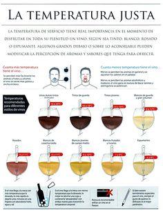 La importancia de la temperatura del servicio en los vinos.