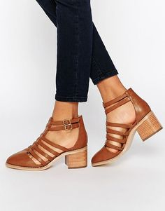 love the small chunky heel, closed toe. but in a different, versatile color other than brown... nude perhaps.