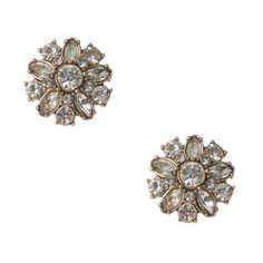 Vintage Gold and Crystal Flower Stud Earrings