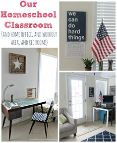 I really like this homeschool classroom-she uses it as a home office and workout area too!