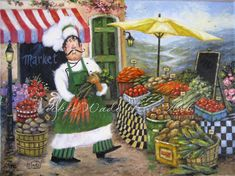 Market Chef Art Print, fat chefs, chef paintings, prints, chef art, kitchen decor, cafe, paris, food, vegetables, Vickie Wade via Etsy