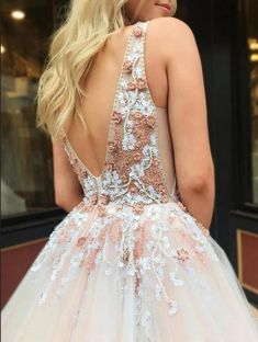 beaded long prom dress