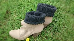 Boot toppers women's ankle warmers gray short by Cottonbeanies, $12.00