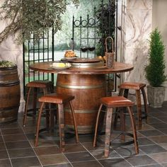 Whiskey Barrel Table- cut in half for bar?