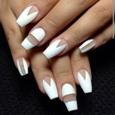 White matte negative space coffin or ballerina shaped nails. I'm really liking the ballerina nail shape and negative space nail design lately!