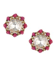 Round crystal stud earrings with pink & gold roses from Betsey Johnson.