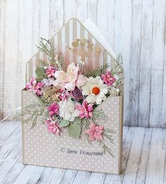 15 ideas birthday box card design for 2019 Shabby Chic Karten, Shabby Chic Cards, Birthday Cards For Women, Handmade Birthday Cards, 3d Cards Handmade, Beautiful Handmade Cards, Handmade Flowers, Handmade Ideas, Diy Ideas