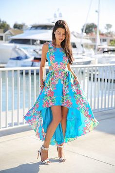 blue floral hi Low Dress