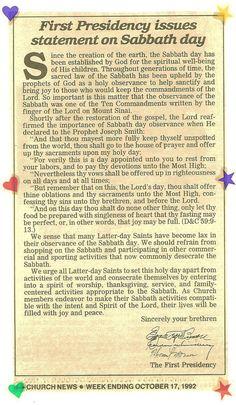 First Presidency Statement on the Sabbath Observance