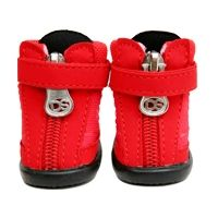 Posh Puppy Boutique is a shop for designer dog clothes and accessories -Running High Shoes puppy apparel, Special collaborating item with 'Doggy School,Waterproof, soft and breathable material, Light weight for easy walking,Fasten by velco straps,Zipper closure.