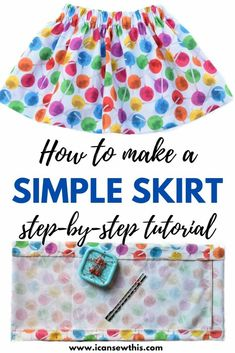Sewing for beginners: How to make a simple skirt Learn to quickly make a simple skirt with an elastic waistband with this free sewing tutorial. Skirt Patterns Sewing, Sewing Patterns Free, Free Sewing, Clothes Patterns, Girls Skirt Patterns, Sewing Lace, Skirt Sewing, Pattern Sewing, First Sewing Projects