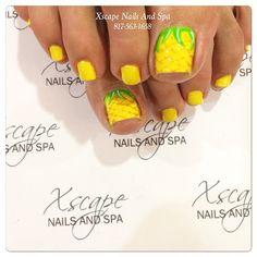 Toenails by xscapenails - pineapple toenails Pedicure Nail Art, Toe Nail Art, Nail Spa, Pedicure Ideas, Gel Nail Art Designs, Toe Nail Designs, Nails Design, Shoe Nails, Feet Nails
