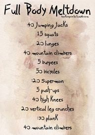 Full Body Workout with NO Equipment. These kind of circuit workouts can be intense, so try what works for you. Whether its doing half the amount or setting an interval timer for 30 seconds of work with 10 seconds of rest in between each move.                                                                                                                                                                                 More