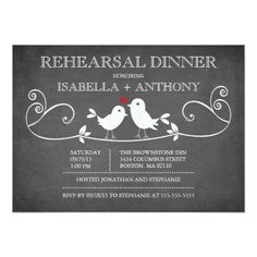 Love Bird Rehearsal Dinner Vintage Chalkboard Love Birds Rehearsal Dinner Card