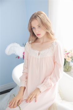 7415b3baeb Silent Beauty Princess Lace Vintage Night Gown Long Sleeves Women Spring