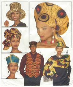 90s Butterick Sewing Pattern 3470 Unisex Accessories African Hats and Headwraps Stole Bow Tie 10 Afrocentric Hat Patterns by CloesCloset on Etsy