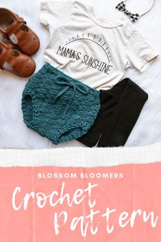 Bloomer crochet pattern comes in infant to toddler sizes. Crochet Baby Bloomers, Crochet Shirt, Crochet Baby Clothes, Knit Crochet, Booties Crochet, Baby Dress Patterns, Baby Clothes Patterns, Clothing Patterns, Frock Patterns