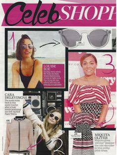 Hook LDN and Louise Roe featured in NOW magazine's CELEB SHOPPING page, August 2015.   #NOW #magazine #LouiseRoe #stylist #blogger #fashion #style #celebrity #inspiration #sunglasses #eyewear #accessories #parklife #hookldn #london