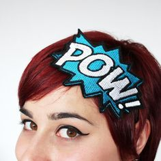 Comic Book Headband POW Peacock Green & White by JanineBasil, £15.00