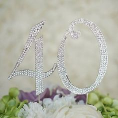 40th Birthday Crystal Rhinestone Cake Topper Anniversary Party Monogram
