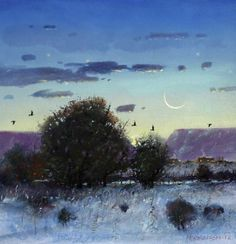 Crescent Moon at Twilight - New Mexico Landscape Art Painting by Tom Perkinson