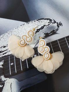 Soutache Earrings Handmade gold and white earrings Bridal Moon Earrings, Star Earrings, Rose Gold Earrings, Gold Hoop Earrings, Bridal Earrings, Crystal Earrings, Crystal Jewelry, Gold Jewelry, Women Jewelry