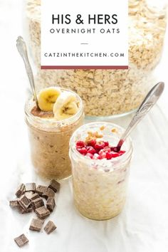 "We customize these easy, healthy, & convenient Overnight Oats to make them ""His & Hers""! They save us time & money, while keeping us full in the mornings! Healthy Breakfast Options, Eat Breakfast, Breakfast Bites, Brunch Recipes, Breakfast Recipes, Natural Peanut Butter, World Recipes, Overnight Oats, Food For Thought"