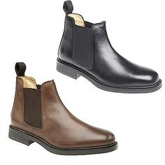Roamers mens twin gusset padded #leather #chelsea dealer boots shoes #brown  black,
