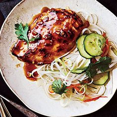 Miso Chicken | MyRecipes.com — Ingredients:   1/4 cup rice vinegar;  3 tablespoons lower-sodium soy sauce;  2 1/2 tablespoons honey;  1 1/2 tablespoons white miso;  1 1/2 teaspoons chile paste (such as sambal oelek);  2 tablespoons minced fresh garlic;  2 tablespoons dark sesame oil, divided;  4 (6-ounce) skinless, boneless chicken breast halves;  2 tablespoons chopped fresh cilantro (optional)