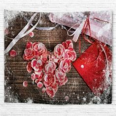 Flowers and Gift Print Tapestry Wall Hanging Art -
