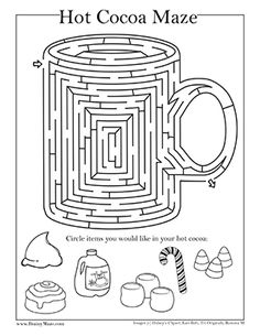 Free Winter Themed Mazes and Activity Pages for Kids. Snowma Maze, Snowflakes, Hot Chocolate, Igloo and more. Free Educational Mazes from BrainyMaze.com