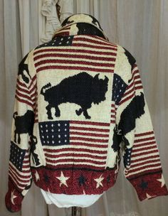 80s Red White and Blue Flags and Buffalo Americana Blanket Jacket #Tantrums
