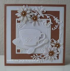 Tea Party Crafts, Invitation Card Party, Marianne Design Cards, Diy Cards, Handmade Cards, Sympathy Cards, Greeting Cards, Coffee Cards, Mothers Day Cards