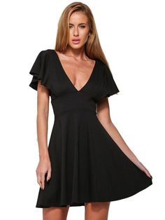 Black Ruffled Sleeve Dress MAVERLLY