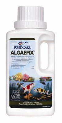 Fish & Aquatic Supplies Pond Care Algaefix 32Oz by MARS FISHCARE NORTH AMERICA. $23.01. Length: 4.5. Height: 9.5. Width: 3. Algaecide •Effectively controls many types of green or green water algae string or hair algae and blanketweed in ponds that contain live plants. Controls existing algae and helps resolve additional algae blooms. Keeps ornamental ponds and water gardens clean & clear. • Treats