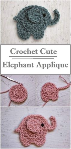 Learn to crochet this super cute elephant applique. Easy step by step instructions with photos Learn to crochet this super cute elephant applique. Easy step by step instructions with photos Crochet Purse Patterns, Crochet Motifs, Crochet Stitches, Knitting Patterns, Easy Knitting, Easy Crochet Projects, Crochet Crafts, Fabric Crafts, Diy Projects