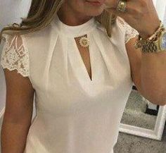 Plus Size Summer Women Shirt Chiffon Blouse Elegant Short Sleeve Lace Patchwork Super Moda, Sexy Bluse, Cheap Womens Tops, Lace Crop Tops, Lace Sleeves, Blouses For Women, Women's Blouses, Ideias Fashion, Summer Fall