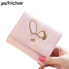 New Arrival Women's Short Wallet Female Leather Sweet Cute Hasp Credit Holder Coin Purse Cartoon Lady Girls Small Bag Ladies   #Affiliate