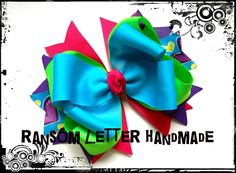 Turquoise Blue Green Hair Bows Heart Ribbon Large Hair Bow Turquoise Dresses Costumes Pink Hearts by ransomletterhandmade on Etsy