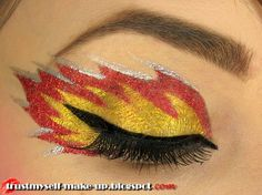Fire flames eye makeup (silver, orange, and yellow)
