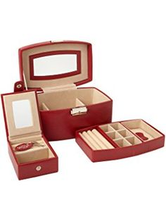 Red WOLF 281404 Heritage Travel Mini Oval Jewelry Box
