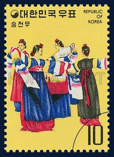 Postage Stamps of Korean Folk Dance Series, victory dance, traditional culture, yellow, blue, 1975 04 20, 민속예능 시리즈(제2집), 1975년 04월 20일, 94, 승전무, postage 우표