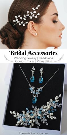 Bridal accessories: Wedding jewelry, headpieces, hair pins, combs, tiaras, vines by DreamlisShop. Each wedding accessories and jewelry are created from high-quality materials: natural pearls, rock crystal, Japanese beads, silver-plated wire. #weddings #rusticwedding Bridal Jewellery, Bridal Earrings, Wedding Jewelry, Wedding Tiaras, Wedding Sets, Black Bride, Bridal Hair Pins, Bride Hairstyles, Wedding Hair Accessories