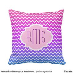Personalized Monogram Rainbow Ombre Chevron Girl